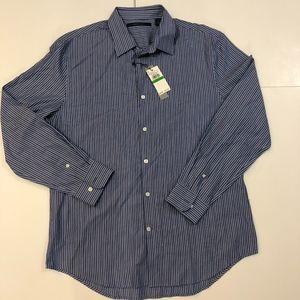 Perry Ellis Mens Striped Blue BU Shirt L NWT